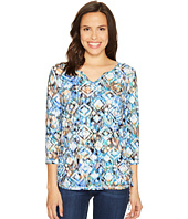 FDJ French Dressing Jeans - Ikat Print Notched Crew Top