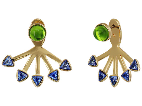 Rebecca Minkoff Fan Ear Jacket Earrings - Gold/Blue/Mint