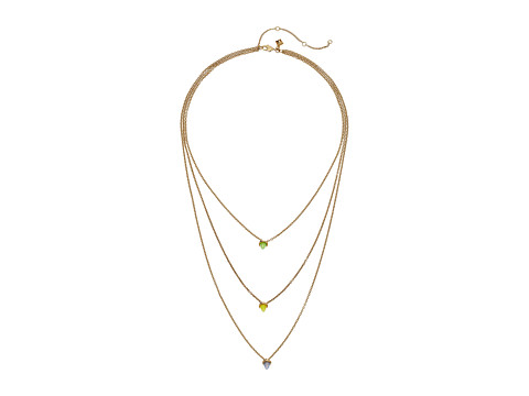 Rebecca Minkoff Tiered Spear Necklace - Antique Gold/Rainbow Opal