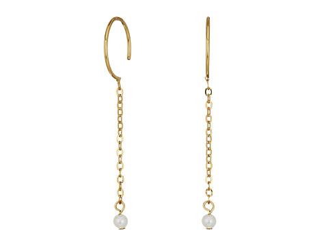 Rebecca Minkoff Baby Hoop Threader Earrings - Gold/Pearl