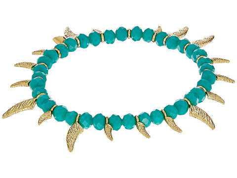 Rebecca Minkoff Tiki Beaded Spike Bracelet - Turquoise Faceted Shiny Beads/Gold