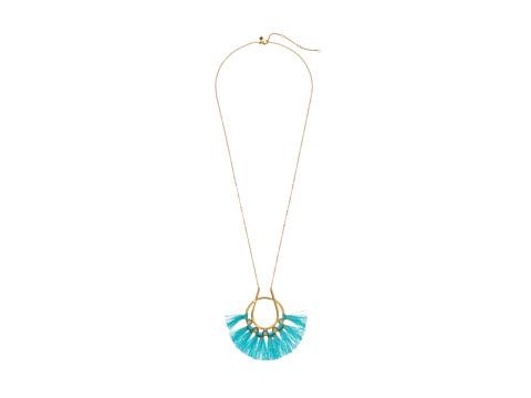 Rebecca Minkoff Utopia Tassel Pendant Necklace - Turquoise/Milky White Stones/Turquoise Tassels