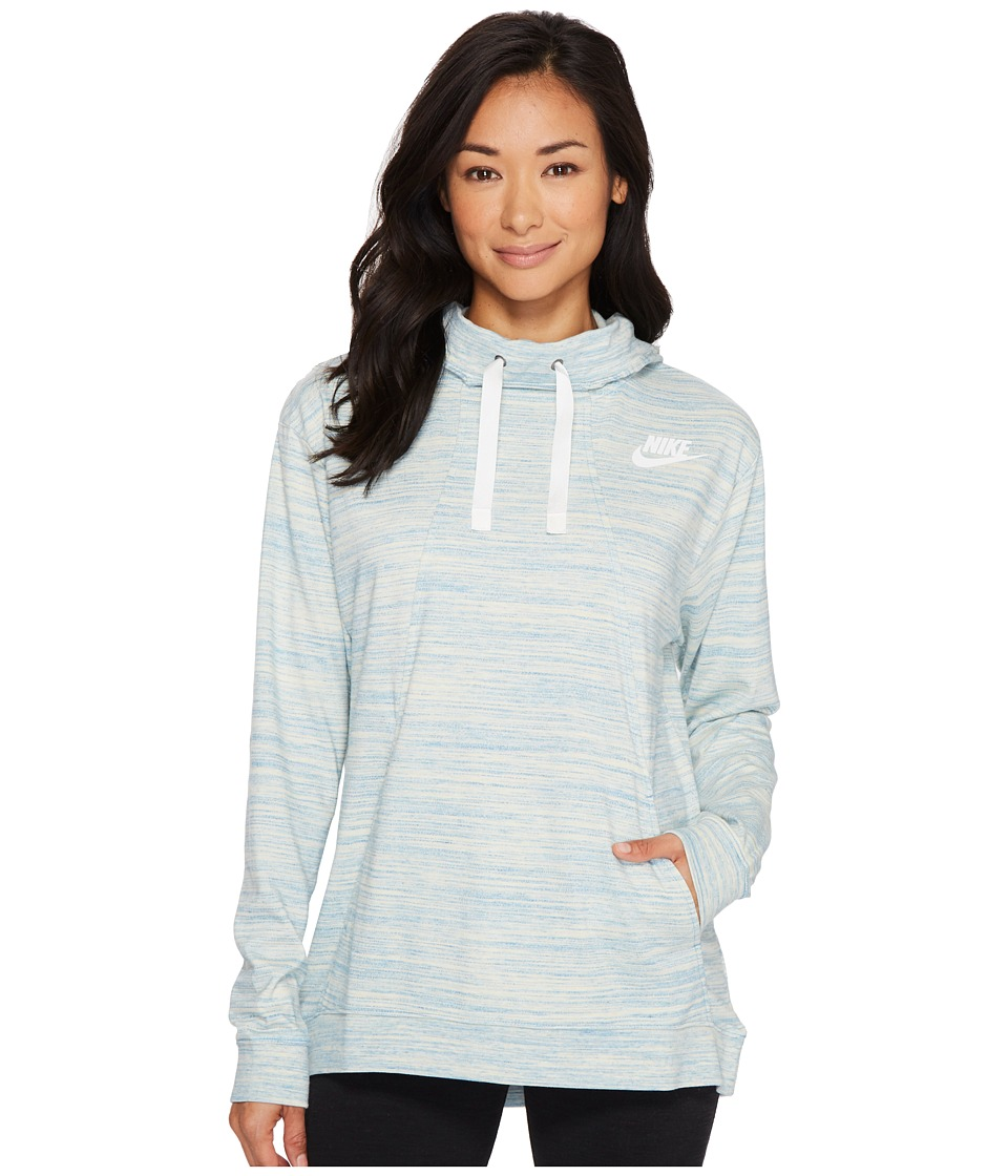 Nike Sportswear Gym Classic Pullover Hoodie (Light Armory Blue/Heather/Sail) Women