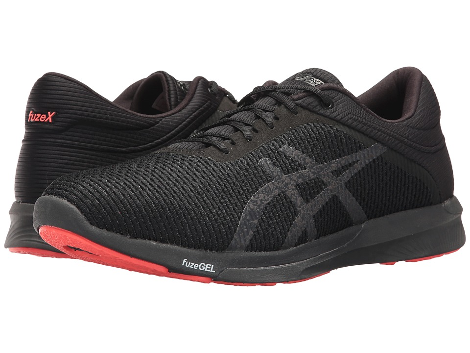 ASICS - FuzeX Rush CM (Black/Dark Grey/Flash Coral) Mens Running Shoes