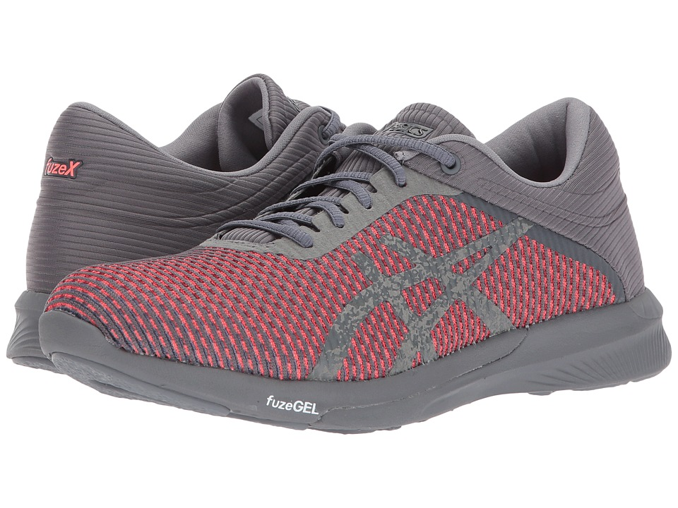 ASICS - FuzeX Rush CM (Carbon/Carbon/Flash Coral) Womens Running Shoes