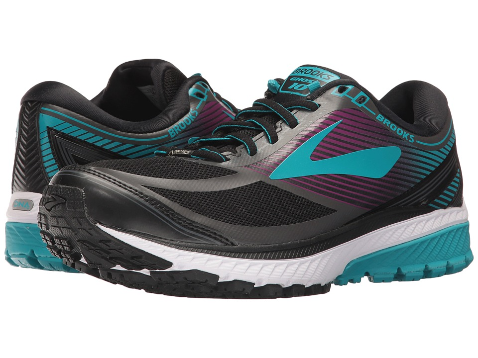 BROOKS Ghost 10 GTX(r) (Black/Peacock Blue/Hollyhock) Wom...