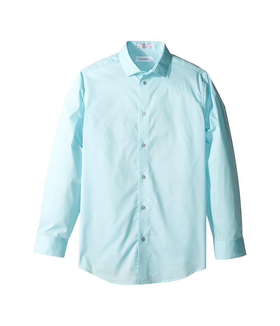 Calvin Klein Kids - Long Sleeve Solid Stretch Poplin Shirt