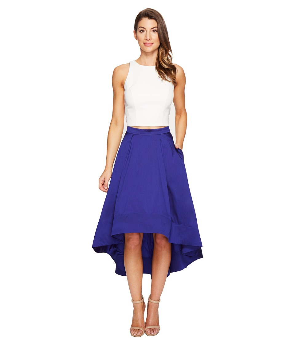 Aidan Mattox Crepe Top Taffeta High-Low (Ivory/Cobalt) Women