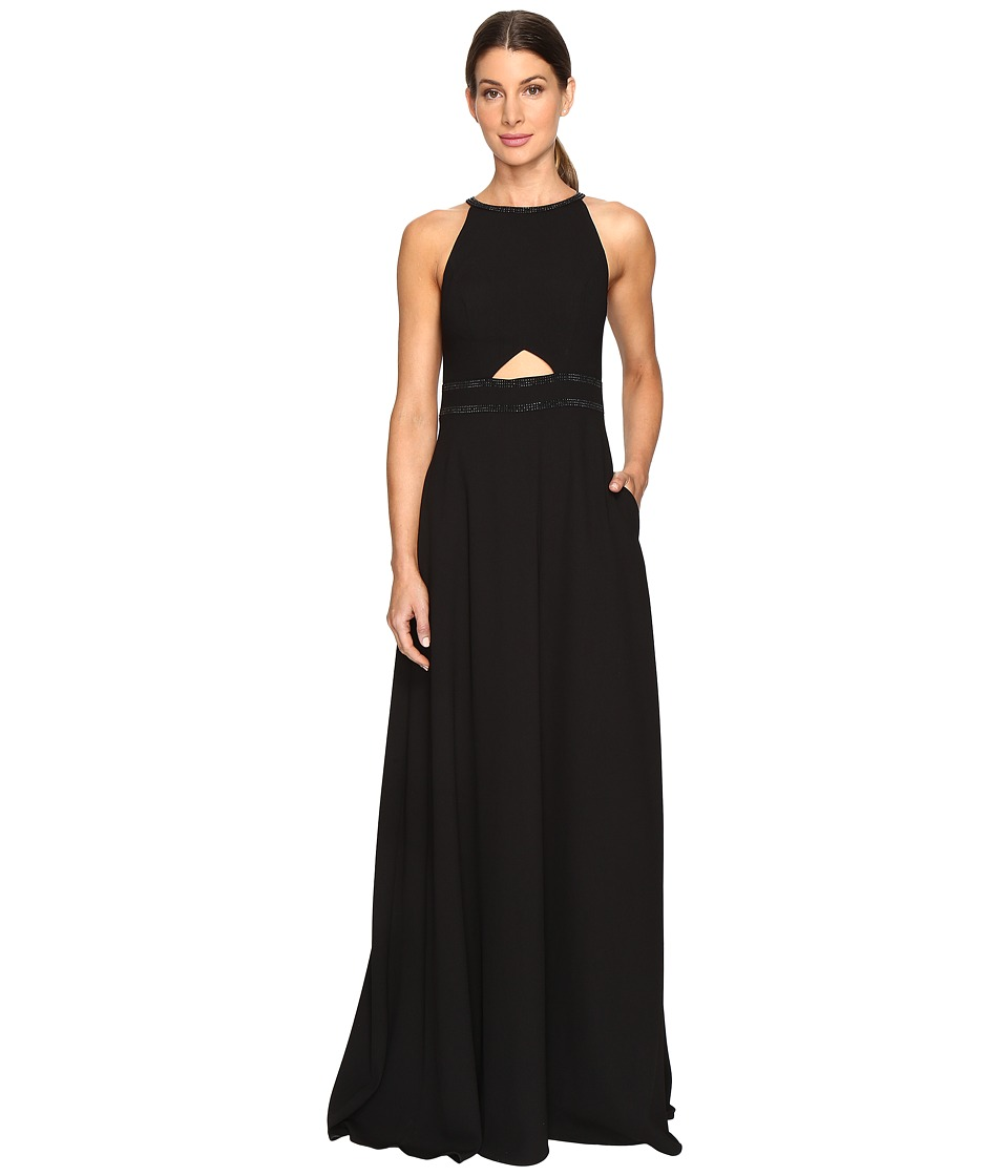 Aidan Mattox Heat Set Crepe Cut Out Gown (Black) Women