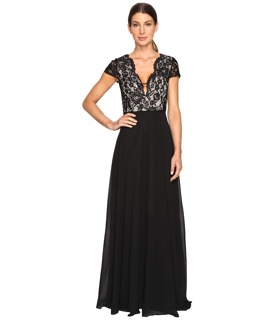 Aidan Mattox Lace and Chiffon Gown (Black/Nude) Women
