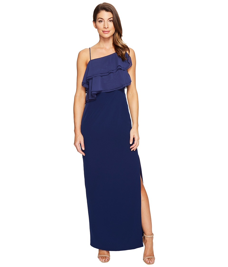 Aidan Mattox Flounce Chiffon and Crepe Gown (Navy) Women