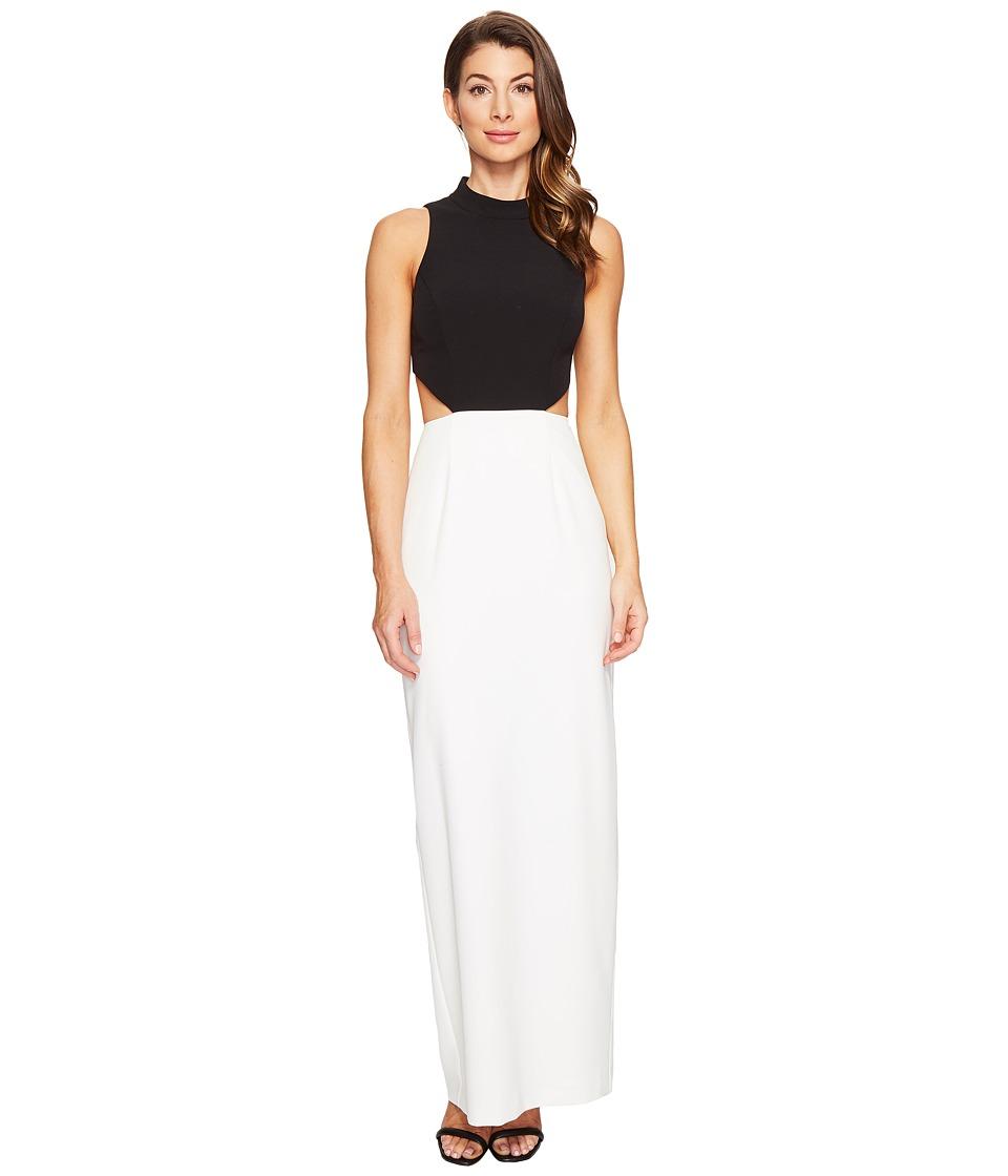 Aidan Mattox Crepe Column Gown (Black/Ivory) Women