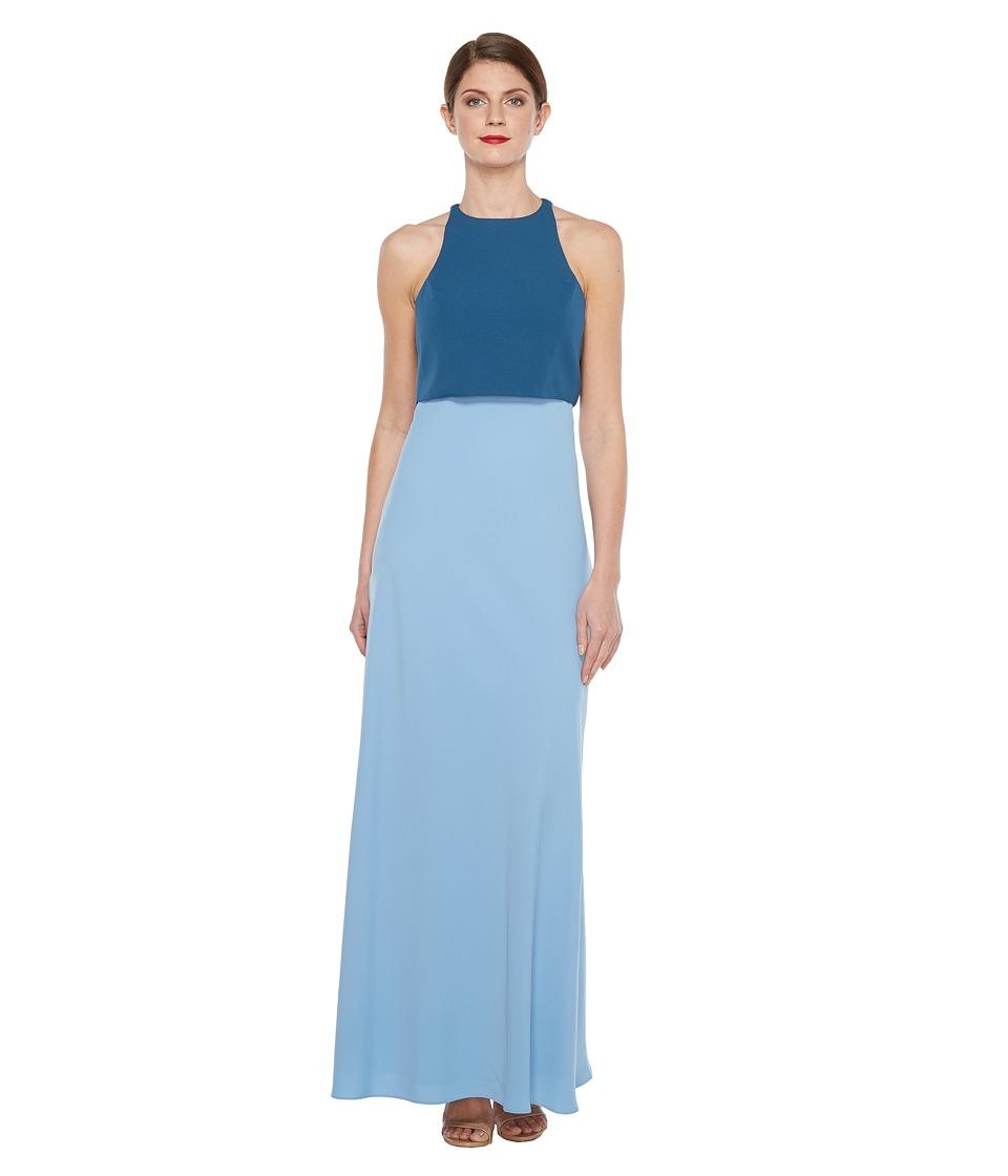 JILL JILL STUART Two-Tone Pop Over 2-Ply Crepe Gown (Coastal/Sparrow Blue) Women