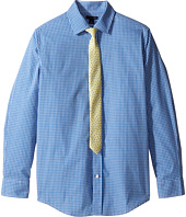 Tommy Hilfiger Kids - Long Sleeve Mini Gingham Shirt with Tie (Big Kids)