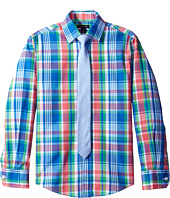 Tommy Hilfiger Kids - Long Sleeve J&J Plaid with Tie (Big Kids)