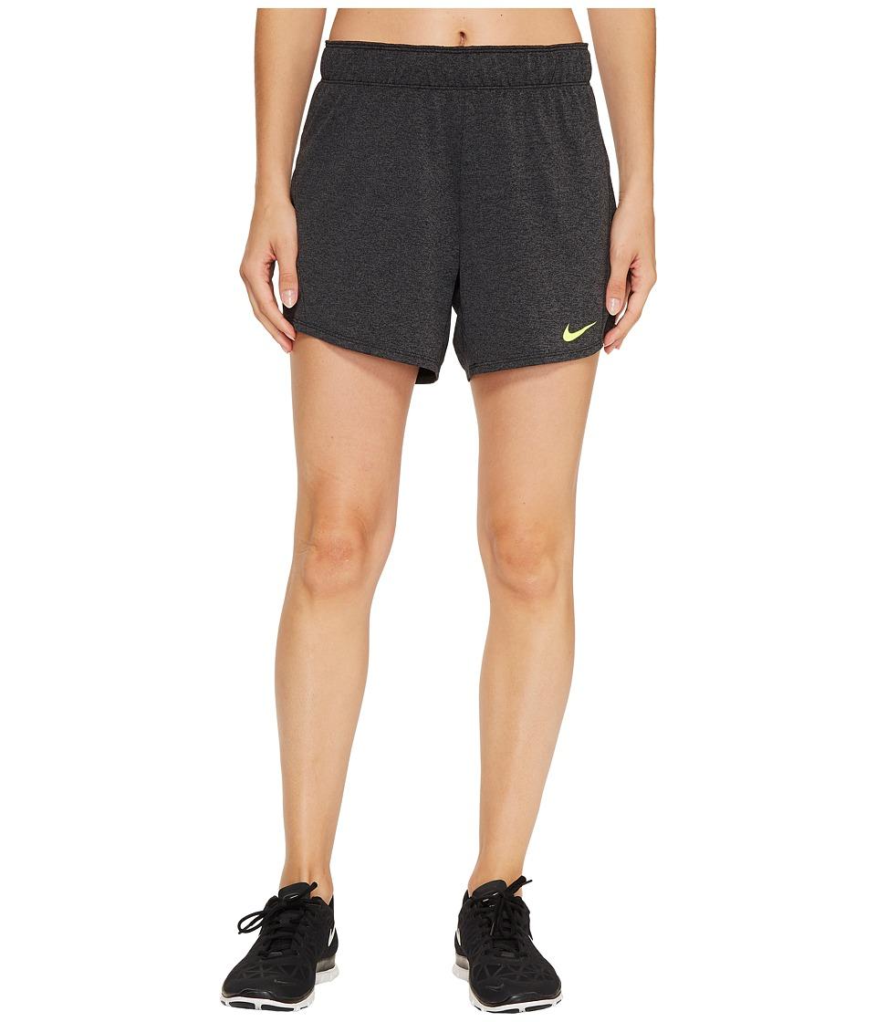 Nike Dry Attack Training Heathered Short (Black/Heather/Volt/Volt) Women