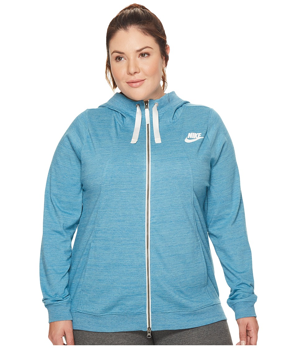 Nike Sportswear Gym Classic Full-Zip Hoodie (Size 1X-3X) (Cerulean/Heather/Sail) Women