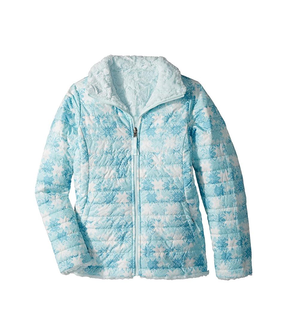The North Face Kids - Reversible Mossbud Swirl Jacket (Little Kids/Big Kids) (Origin Blue Snowflake Fair Isle Print (Prior Season)) Girls Coat