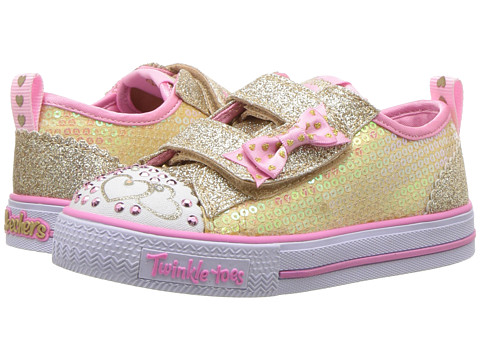 SKECHERS KIDS Twinkle Toes - Shuffles Itsy Bitsy 10764N Lights (Toddler/Little Kid) - Gold/Pink