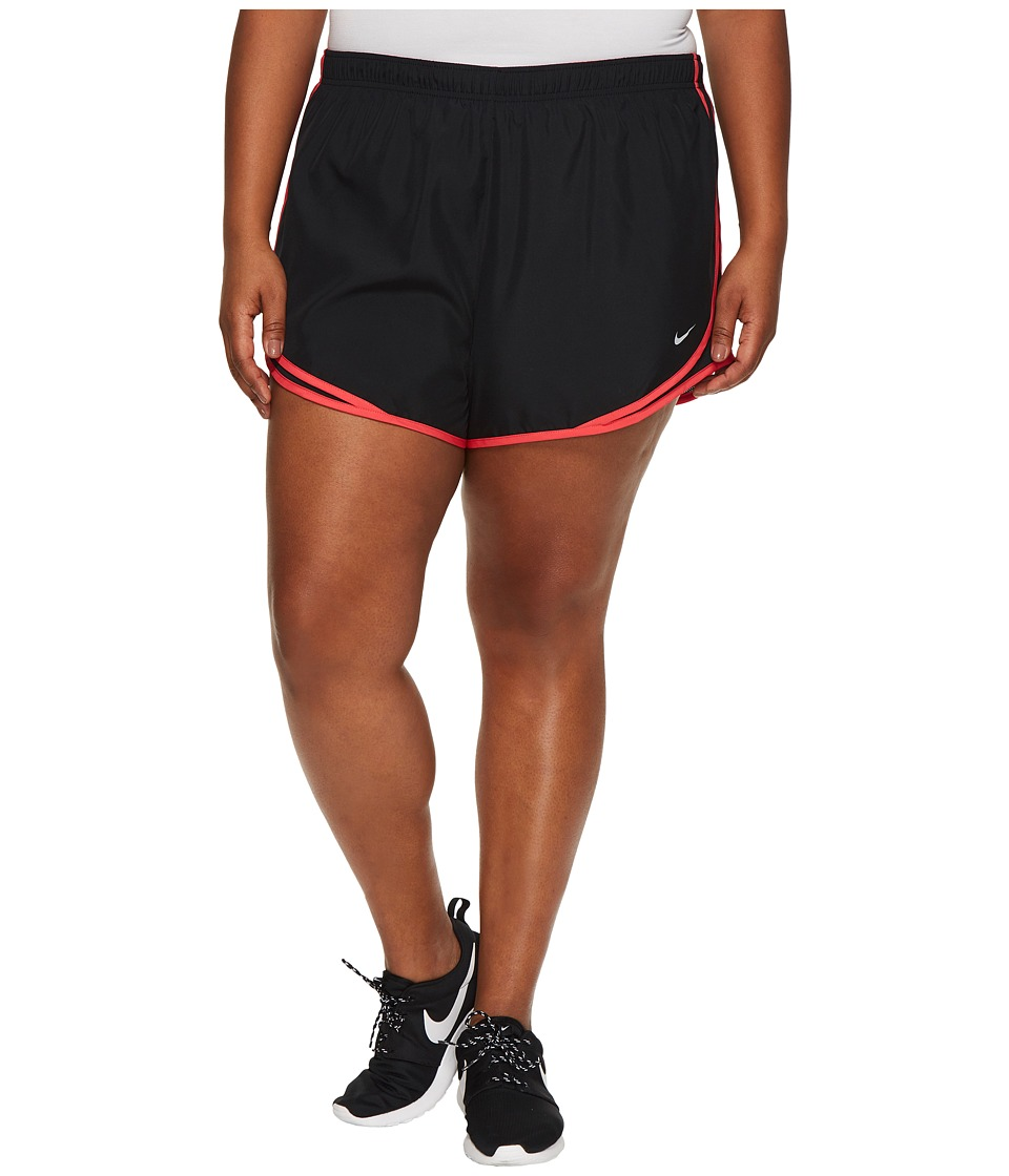 Nike Dry Tempo 3 Running Short (Size 1X-3X) (Black/Black/Siren Red/Wolf Grey) Women