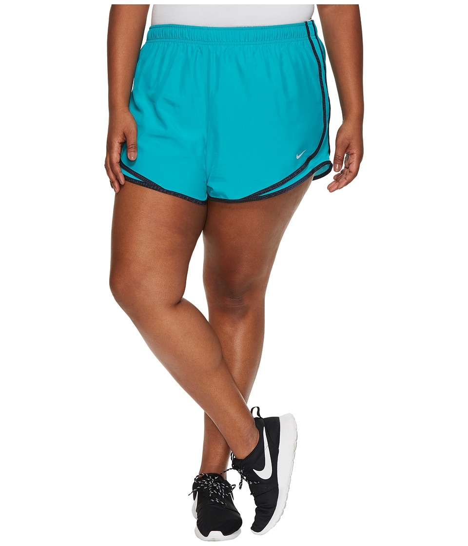 Nike Dry Tempo 3 Running Short (Size 1X-3X) (Turbo Green/Black/Wolf Grey/Wolf Grey) Women