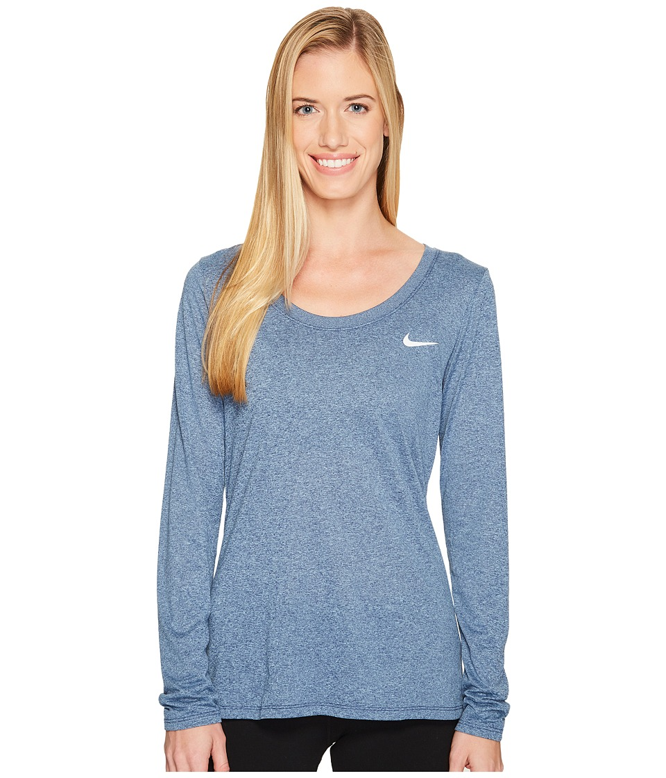 Nike Dry Legend Long Sleeve Tee (Binary Blue/Cirrus Blue/Heather/White) Women