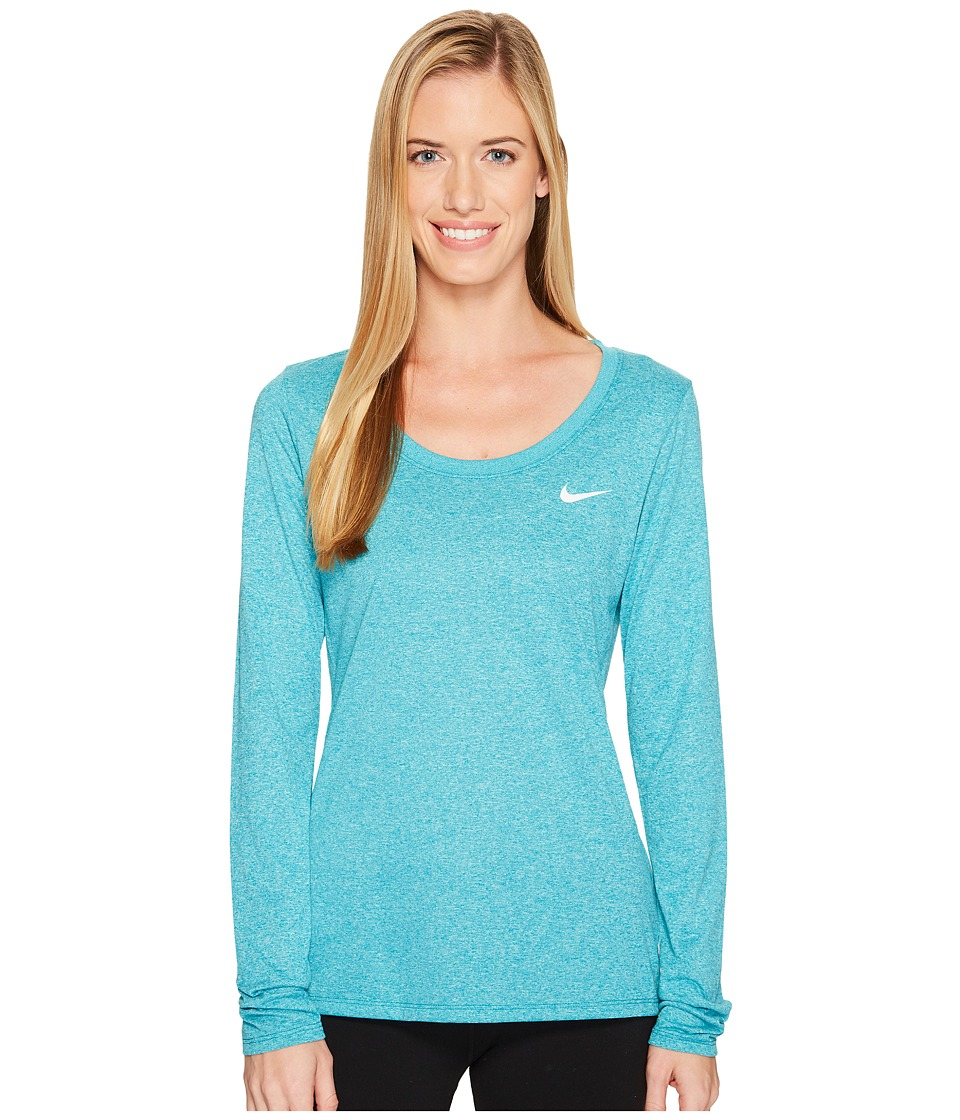 Nike Dry Legend Long Sleeve Tee (Blustery/Light Aqua/Heather/White) Women