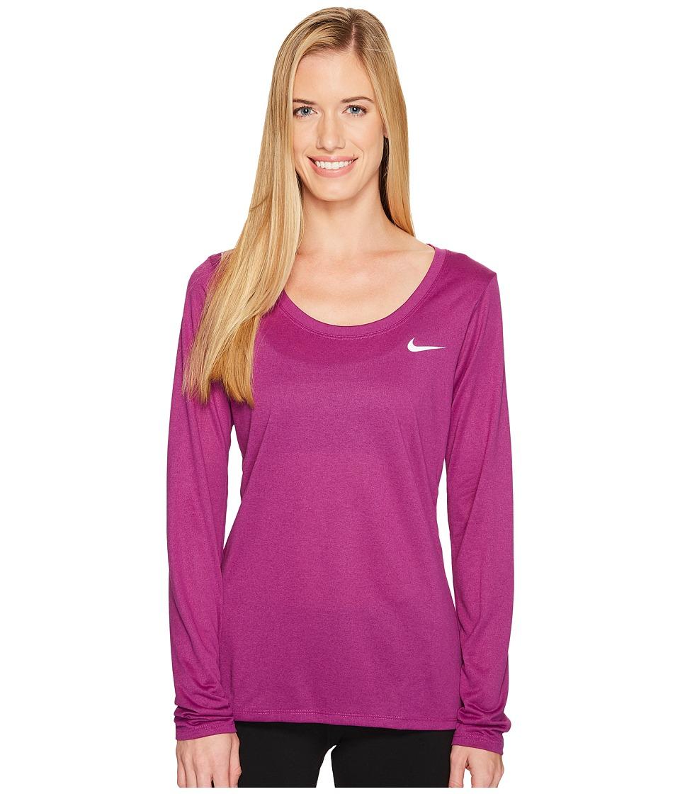 Nike Dry Legend Long Sleeve Tee (Bold Berry/White) Women