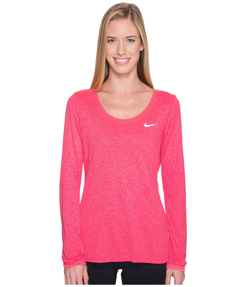 Nike Dry Legend Long Sleeve Tee (Light Fusion Red/Racer Pink/Heather/White) Women