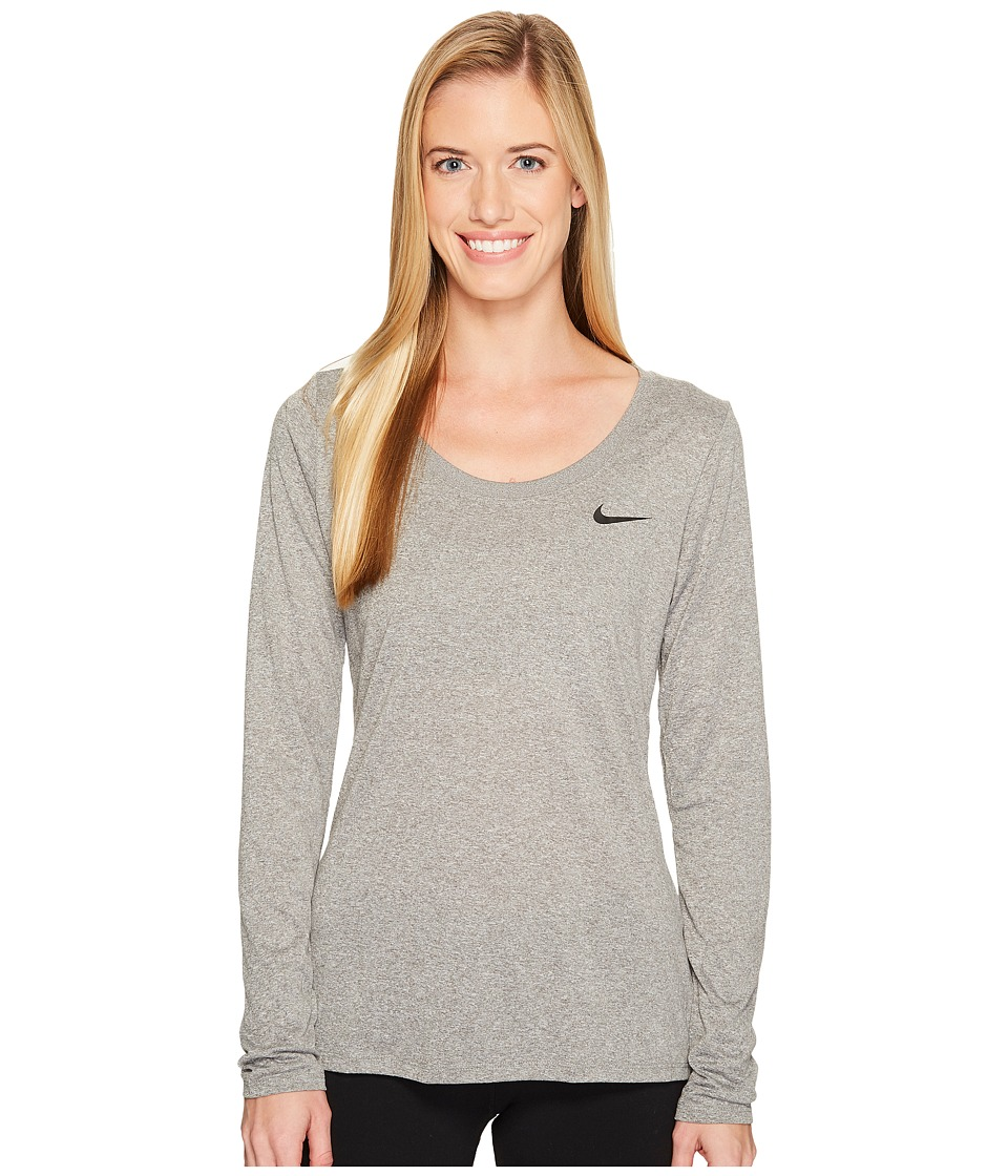 Nike Dry Legend Long Sleeve Tee (Carbon Heather/Black) Women