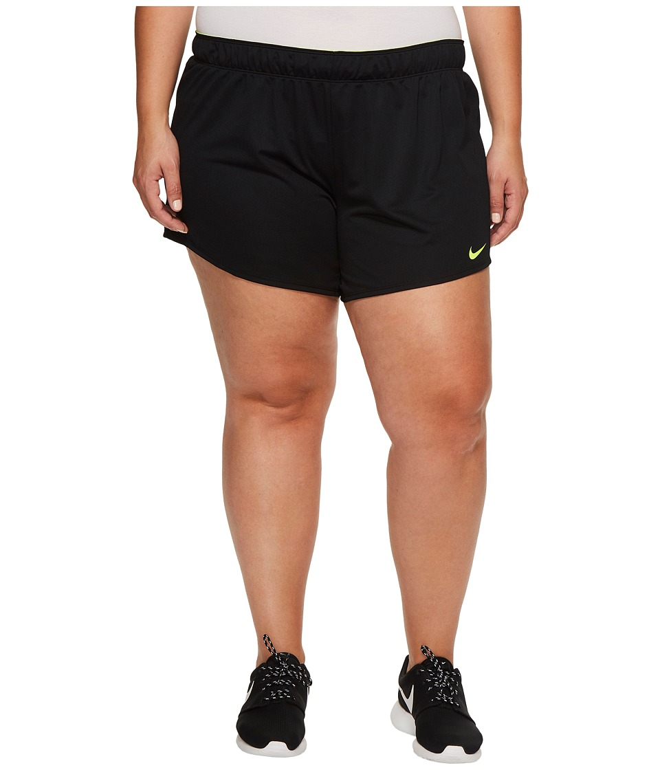 Nike Dry Training Short (Size 1X-3X) (Black/Volt/Volt) Women