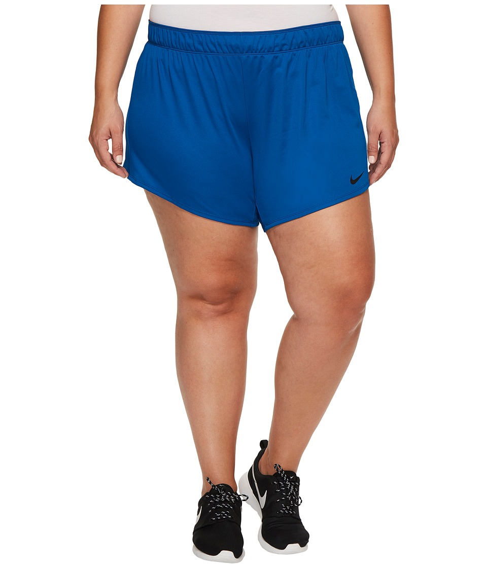 Nike Dry Training Short (Size 1X-3X) (Blue Jay/Black/Black) Women