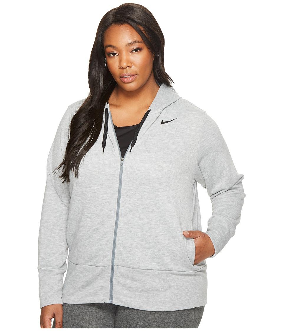 Nike Dry Full-Zip Training Hoodie (Size 1X-3X) (Dark Grey Heather/Cool Grey/Black) Women