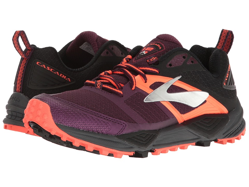 BROOKS Cascadia 12 (Pickled Beet/Black/Fiery Coral) Women...
