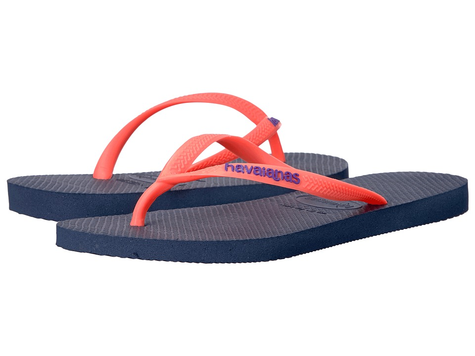 Havaianas - Slim Logo Flip Flops (Navy Blue) Womens Sandals