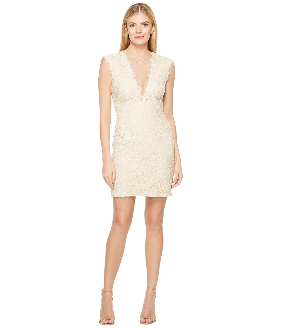 Aidan Mattox Cap Sleeve Stretch Lace Cocktail Dress (Champagne) Women