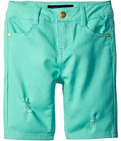 Tommy Hilfiger Kids - Bermuda Length Distressed Denim Shorts in Cabbage (Little Kids)