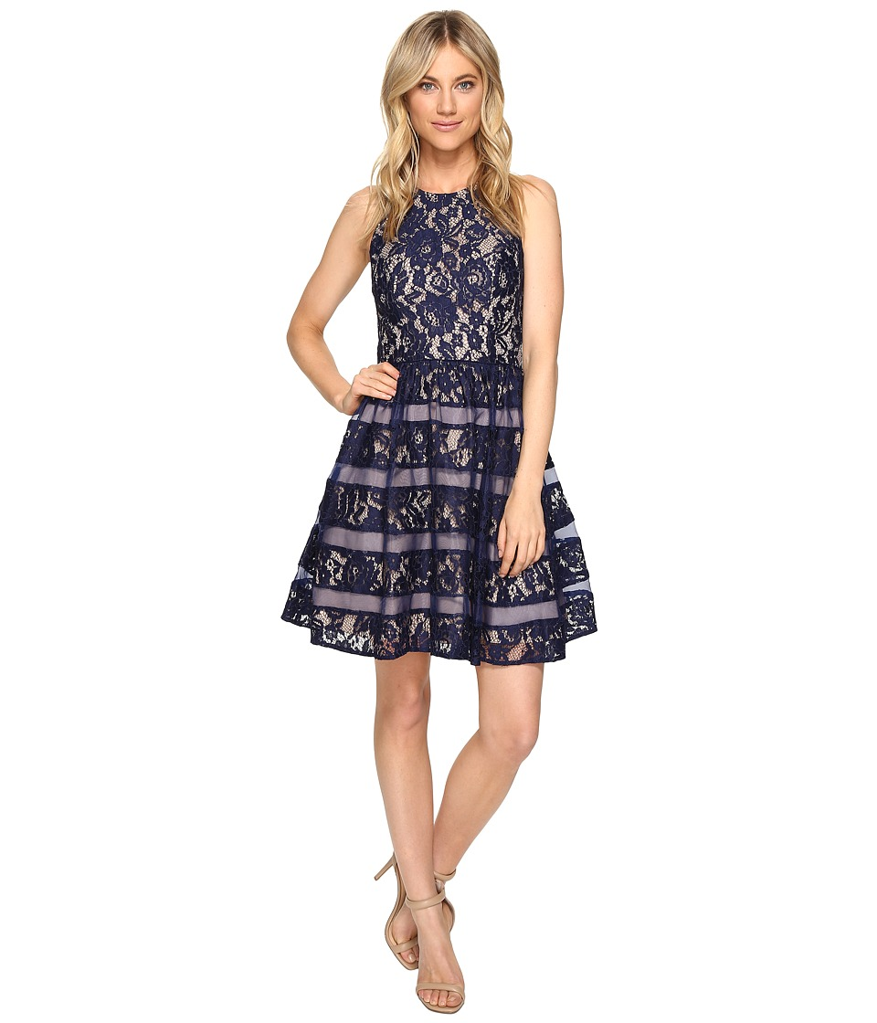 Aidan Mattox Halter Lace w/ Shadow Stripe Detail Dress (Navy/Nude) Women