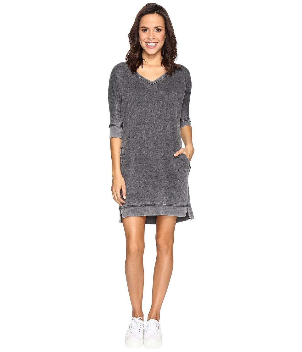 Allen Allen 3/4 Dolman Sleeve V-Neck Dress (Black) Women
