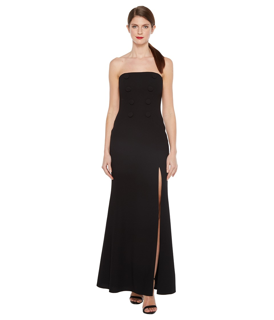 JILL JILL STUART - Strapless Hourglass Gown with Center Buttons, Front Slit and Side Pockets (Black) Womens Dress