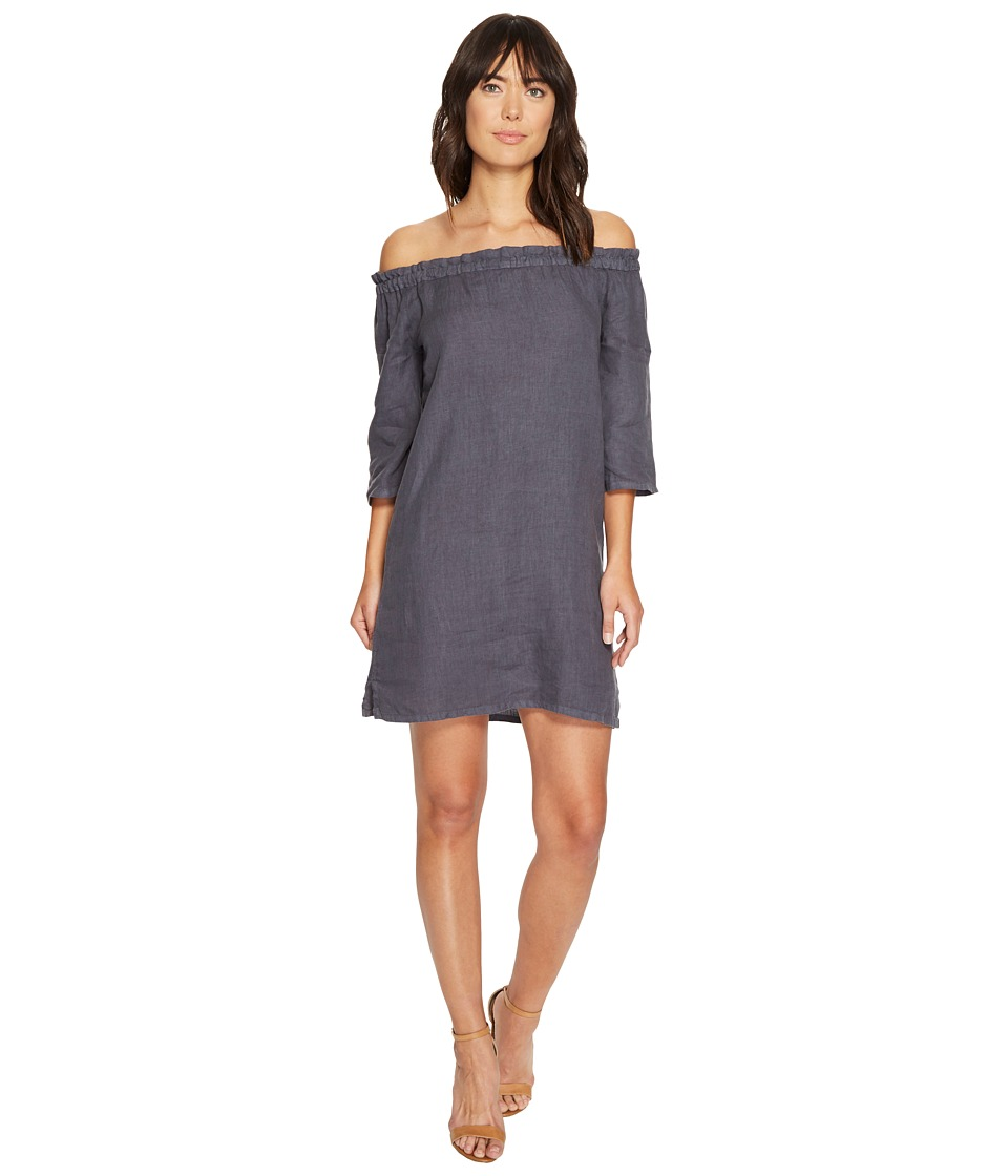 Allen Allen Ruffle Edge Linen Dress (Flint) Women