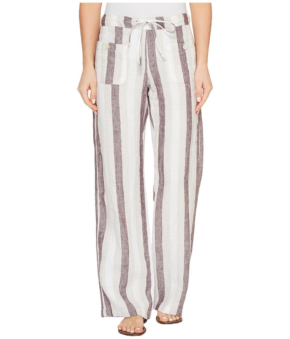 Allen Allen - Four-Pocket Stripe Long Linen Pants
