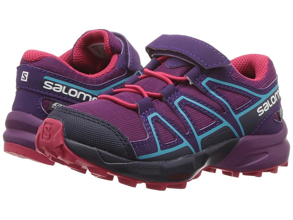 Salomon Kids Speedcross CSWP (Toddler/Little Kid) (Grape Juice/Evening Blue/Blue Bird) Girls Shoes
