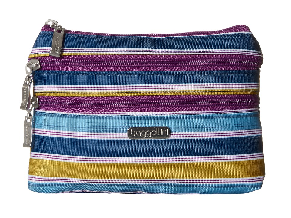 Baggallini 3 Zip Cosmetic Case (Tropical Stripe) Cosmetic Case
