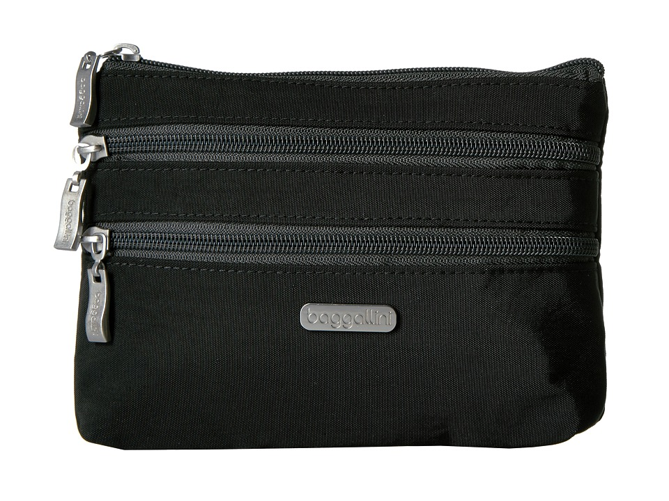 Baggallini 3 Zip Cosmetic Case (Black/Charcoal) Cosmetic Case