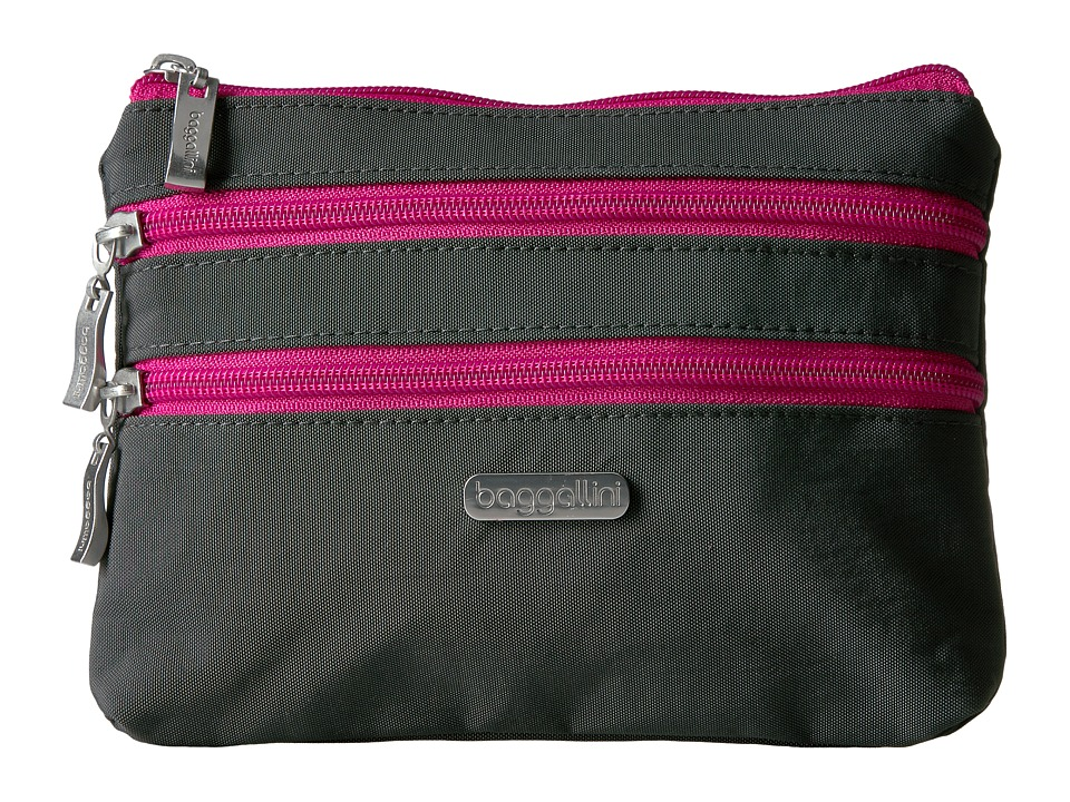 Baggallini 3 Zip Cosmetic Case (Charcoal/Fuchsia) Cosmetic Case