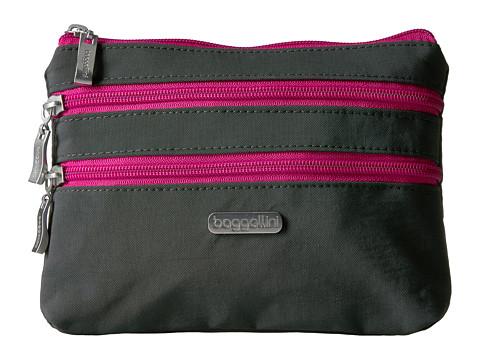 Baggallini 3 Zip Cosmetic Case - Charcoal/Fuchsia