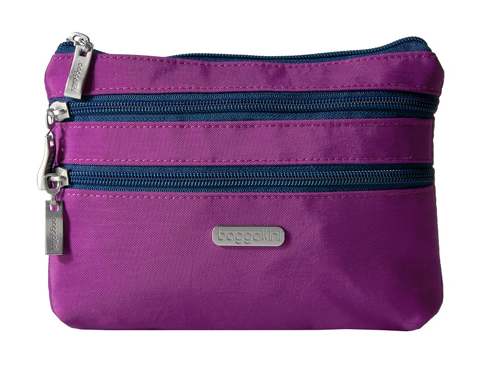 Baggallini 3 Zip Cosmetic Case (Magenta/Pacific) Cosmetic Case