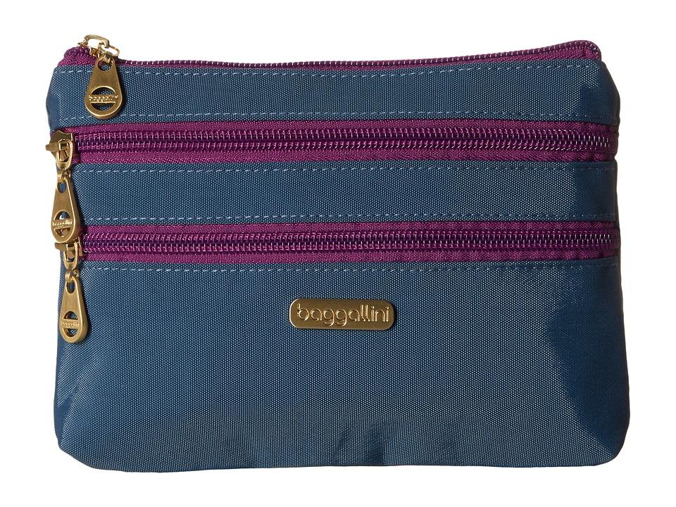 Baggallini Shanghai 3 Zip Case (Slate Blue) Cosmetic Case