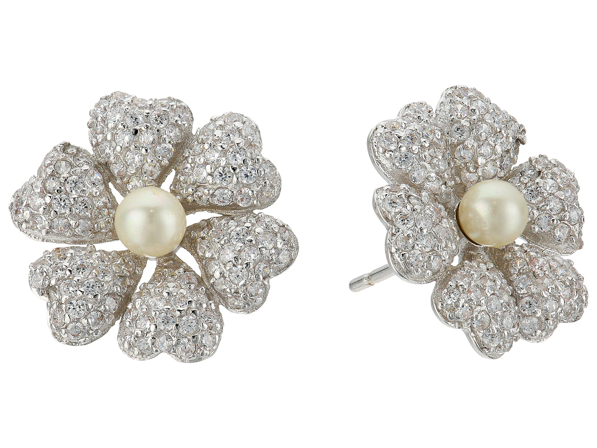 Nina Pluma Pearl Flower Earrings at Zappos